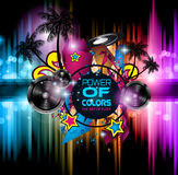 Disco Dance Art Design Poster with Abstract shapes and drops of colors Royalty Free Stock Image