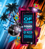 Disco Dance Art Design Poster with Abstract shapes and drops of colors. Behind the space for text. Modern Artistic flyer or party thai background Stock Illustration