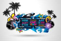 Disco Dance Art Design Poster with Abstract shapes and drops of colors. Behind the space for text. Modern Artistic flyer or party thai background Royalty Free Stock Image