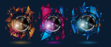 Disco Dance Art Design Poster with Abstract shapes and drops of colors Stock Image