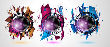 Disco Dance Art Design Poster with Abstract shapes and drops of colors Royalty Free Stock Photo
