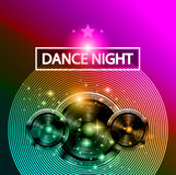 Disco Dance Art Design Poster with Abstract shapes and drops of colors behind Stock Photo