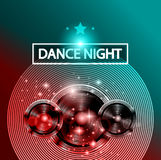 Disco Dance Art Design Poster with Abstract shapes and drops of colors behind Stock Photos