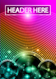 Disco Dance Art Design Poster with Abstract shapes and drops of colors behind Royalty Free Stock Image