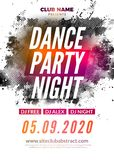 Disco dance party flyer poster. DJ dance music template event.  stock illustration