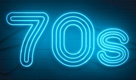 Disco dance 70s neon sign lights logo text glowing color blue Royalty Free Stock Images