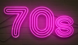 Disco dance 70s neon sign lights logo text glowing color purple Stock Image