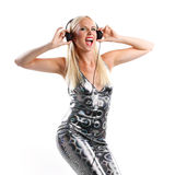 Disco dance woman with headphone Royalty Free Stock Photo