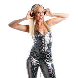 Disco dance woman with headphone Royalty Free Stock Photos