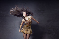 Disco dancer with long hairs Royalty Free Stock Images