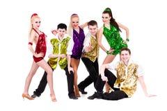 Disco dancer team. Isolated on white. Stock Photo
