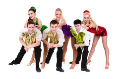 Disco dancer team. Isolated on white. Stock Photos