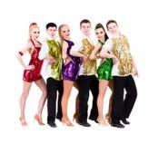 Disco dancer team. Isolated on white. Stock Image