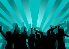 Disco Dancers. A group of dancers in silhouette against a blue background.  The additional format is saved as a vector in AI8 EPS format. The additional format Stock Images