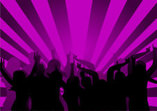 Disco Dancers. A group of dancers in silhouette against a purple background.  The additional format is saved as a vector in AI8 EPS format. The additional format Stock Photography