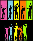 Disco dancers. Rainbow coloured disco dancers - 2 themes to choose from Stock Photos