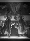 Disco dancers in black and white royalty free stock images