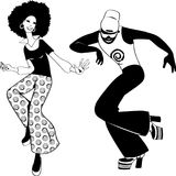 Disco dancers clip-art. Young couple dressed in 1970s fashion dancing in a disco club, black EPS 8 vector silhouette, no white objects Stock Images