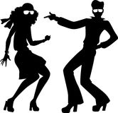 Disco dancers silhouette Royalty Free Stock Photos
