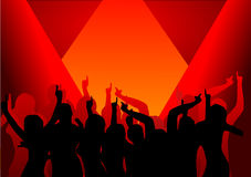 Disco Dancers in the Spotlight. A group of dancers in silhouette illuminated by three red spotlights.  The additional format is saved as a vector in AI8 EPS Stock Photo