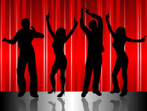 Disco Dancers on Stage. A group of dancers in silhouette on a stage in front of a red satin effect background.  The additional format is saved as a vector in AI8 Stock Photography