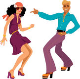 Disco dancers. Young Caucasian couple dressed in 1970s fashion dancing disco, vector illustration, isolated on white, no transparencies, EPS 8 Royalty Free Stock Photo