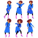 Disco dancing african american girl in blue dress and pink boots in different poses vector illustration