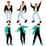 Disco dancing boys dressed like 80s dandy in different poses royalty free illustration