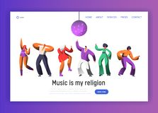 Disco Dancing Characters Landing Page Template. Dance Night Party Festival for Website or Web Page Nightlife Club Dancer. Disco Dancing Characters Landing Page royalty free illustration