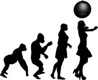 Disco Dancing Evolution. Silhouette illustration of human evolution ending with a young girl dancing under a disco glitter ball Royalty Free Stock Photography