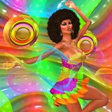 Disco dancing girl on abstract background. With two gold speakers. She dances to the dj music with her retro afro and short skirt making a fashion statement Royalty Free Stock Photography