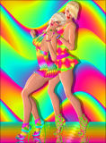 Disco dancing girls in vintage outfits. Royalty Free Stock Image