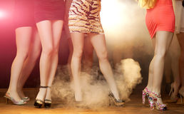 Disco Dancing. Group of woman dancing at nightclub Royalty Free Stock Photo
