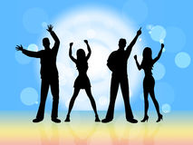 Disco Dancing Indicates Party Nightclub And Silhouette Royalty Free Stock Image