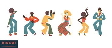 9a1fe3e3e79c Disco dancing people vector illustration set with men and women with  clothes and hairstyles in retro
