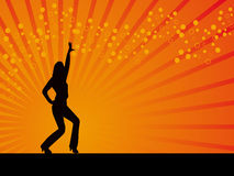 Disco dancing pose vector orange background Royalty Free Stock Photo