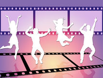 Disco Dancing Shows Camera Film And Celluloid. Dancing Disco Meaning Camera Film And Discotheque Stock Photos