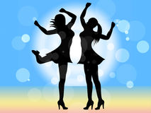 Disco Dancing Shows Female Celebration And People. Women Dancing Representing Disco Music And Person Stock Images