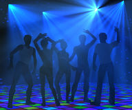 Disco dancing silhouettes. Disco party background with blue light rays and a group of young people dancing. 3d illustration Royalty Free Stock Photography