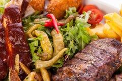 Disco de carnes, de la ensalada y de patatas fritas mezcladas Imagen de archivo libre de regalías