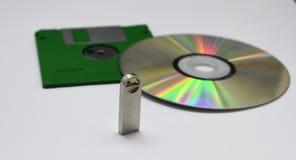 Disco de Floopy, Cd, memoria Flash foto de archivo libre de regalías