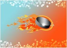 Disco de hóquei no fundo do fogo Imagens de Stock Royalty Free