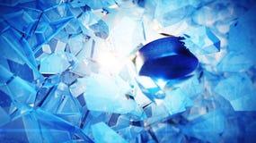 Disco de hóquei estourado através do gelo Fotos de Stock Royalty Free