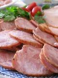 Disco de la salchicha y del jamón Foto de archivo libre de regalías
