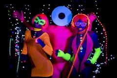 Disco de néon uv do fulgor partty Imagem de Stock Royalty Free