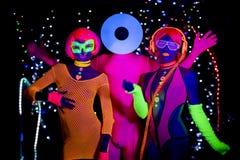 Disco de neón ultravioleta del resplandor partty Foto de archivo