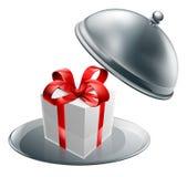 Disco de plata del lujo de la bandeja del regalo Imagen de archivo