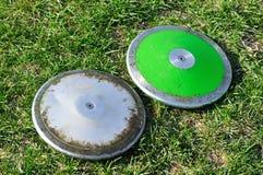 Disco de plata y verde Fotografía de archivo