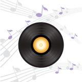 Disco de vinilo con la etiqueta anaranjada Foto de archivo libre de regalías