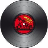 Disco de vinilo con la etiqueta de los golpes del verano Imágenes de archivo libres de regalías